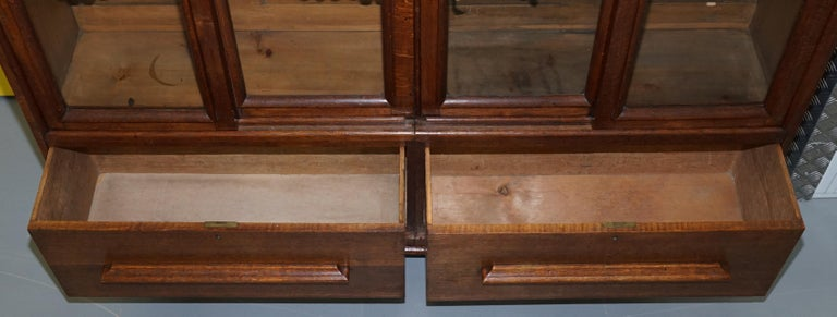 Huge Tall Solid English Oak Victorian Library Sliding Glass Door Bookcase For Sale 10