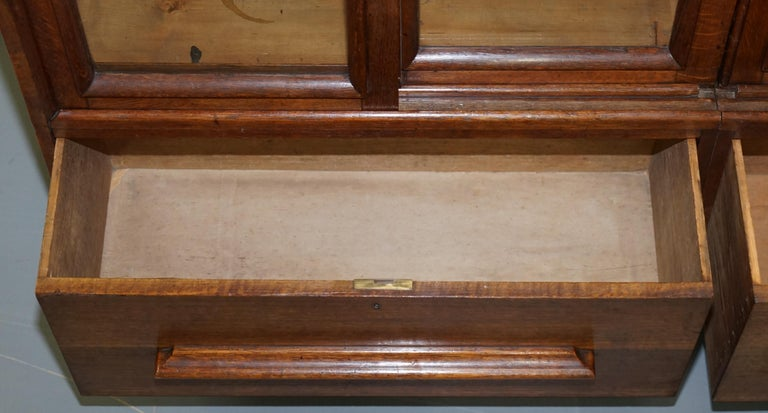 Huge Tall Solid English Oak Victorian Library Sliding Glass Door Bookcase For Sale 11