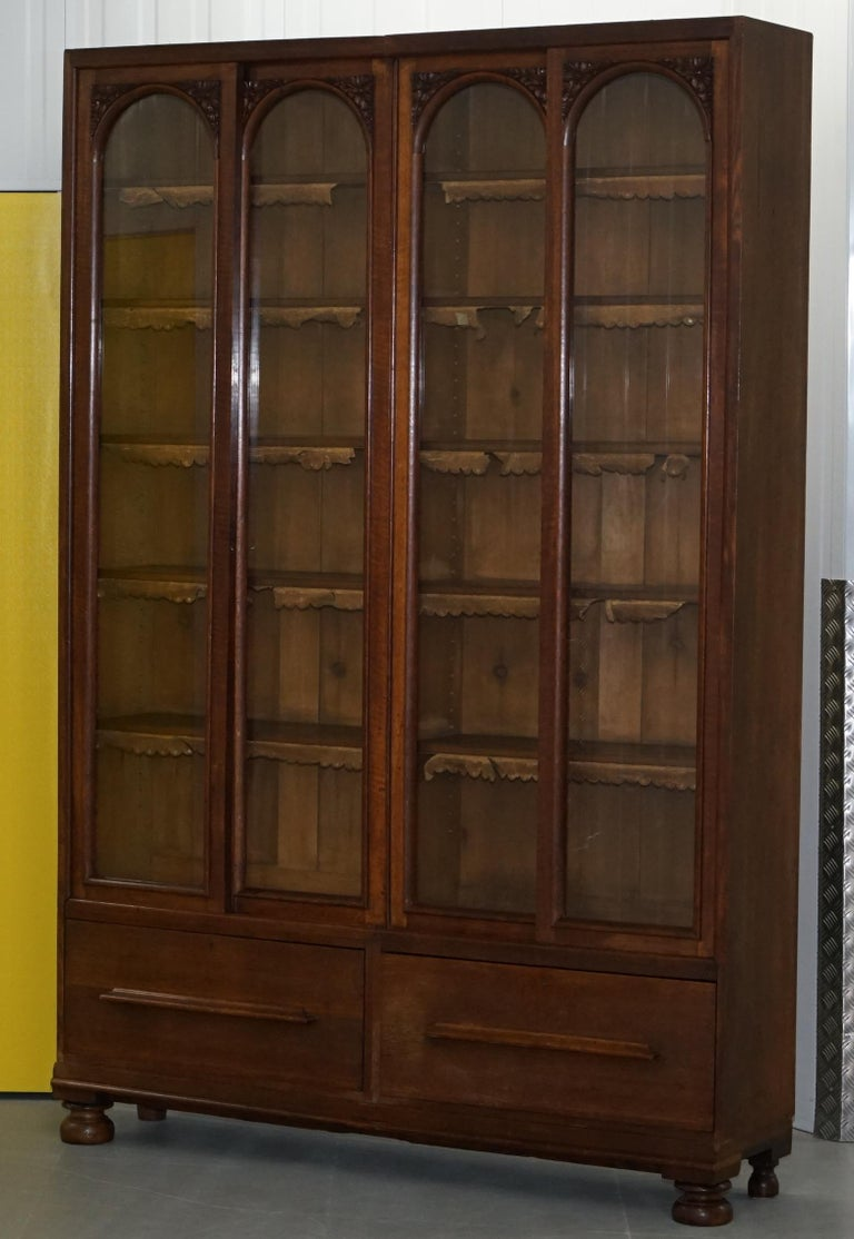 Hand-Crafted Huge Tall Solid English Oak Victorian Library Sliding Glass Door Bookcase For Sale