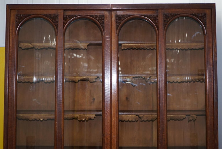 Huge Tall Solid English Oak Victorian Library Sliding Glass Door Bookcase In Good Condition For Sale In London, GB