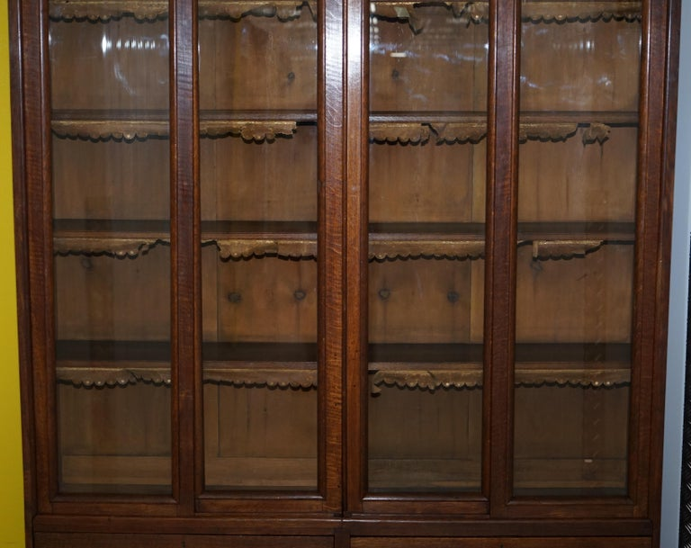 20th Century Huge Tall Solid English Oak Victorian Library Sliding Glass Door Bookcase For Sale