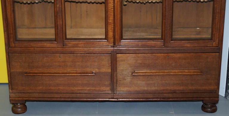 Huge Tall Solid English Oak Victorian Library Sliding Glass Door Bookcase For Sale 1