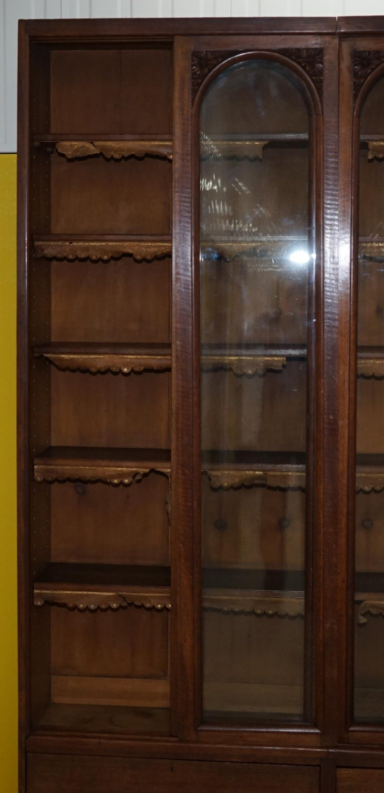 Huge Tall Solid English Oak Victorian Library Sliding Glass Door Bookcase For Sale 4