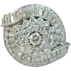 Huge 3.25 Carat Diamond and Platinum Custer Cocktail Ring