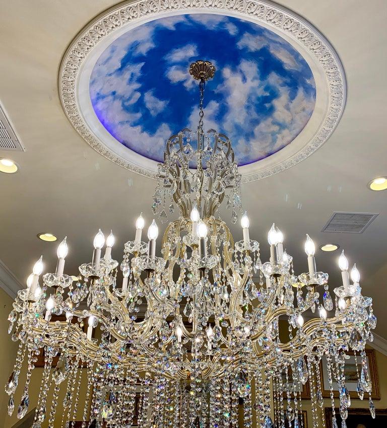 Italian Huge 37 Light Maria Theresa Empire Swarovski Crystal Olde World Gold Chandelier For Sale