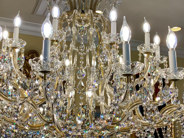 Huge 37 Light Maria Theresa Empire Swarovski Crystal Olde World Gold Chandelier In Good Condition For Sale In Tustin, CA