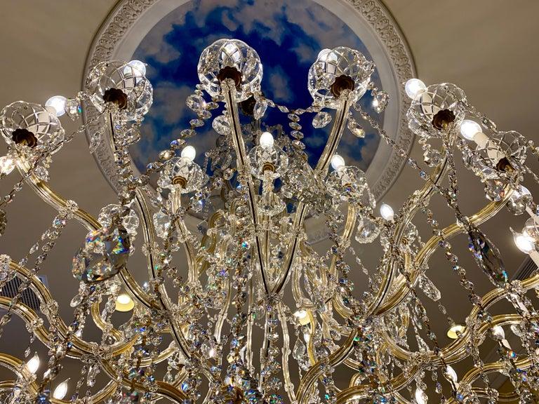 Contemporary Huge 37 Light Maria Theresa Empire Swarovski Crystal Olde World Gold Chandelier For Sale