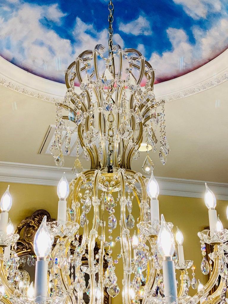 Huge 37 Light Maria Theresa Empire Swarovski Crystal Olde World Gold Chandelier For Sale 1