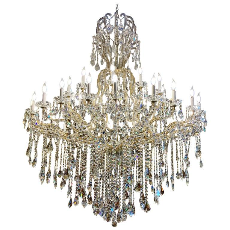 Huge 37 Light Maria Theresa Empire Swarovski Crystal Olde World Gold Chandelier For Sale