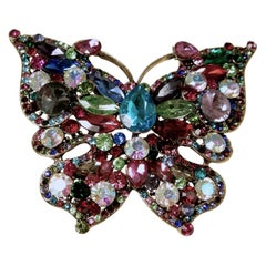 "Huge 4"" Multi-Color Butterfly Brooch"