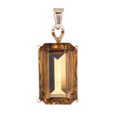 Huge 44 Carat Citrine Pendant Vintage 14 Karat Gold Emerald Cut Estate Jewelry