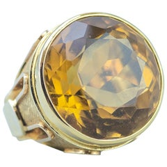 Huge 50 Carat Citrine Ring in 14 Karat Gold, circa 1970s