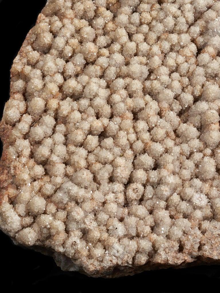 Hand-Carved Huge Pinkish Quartz Crystal Covered Rock For Sale