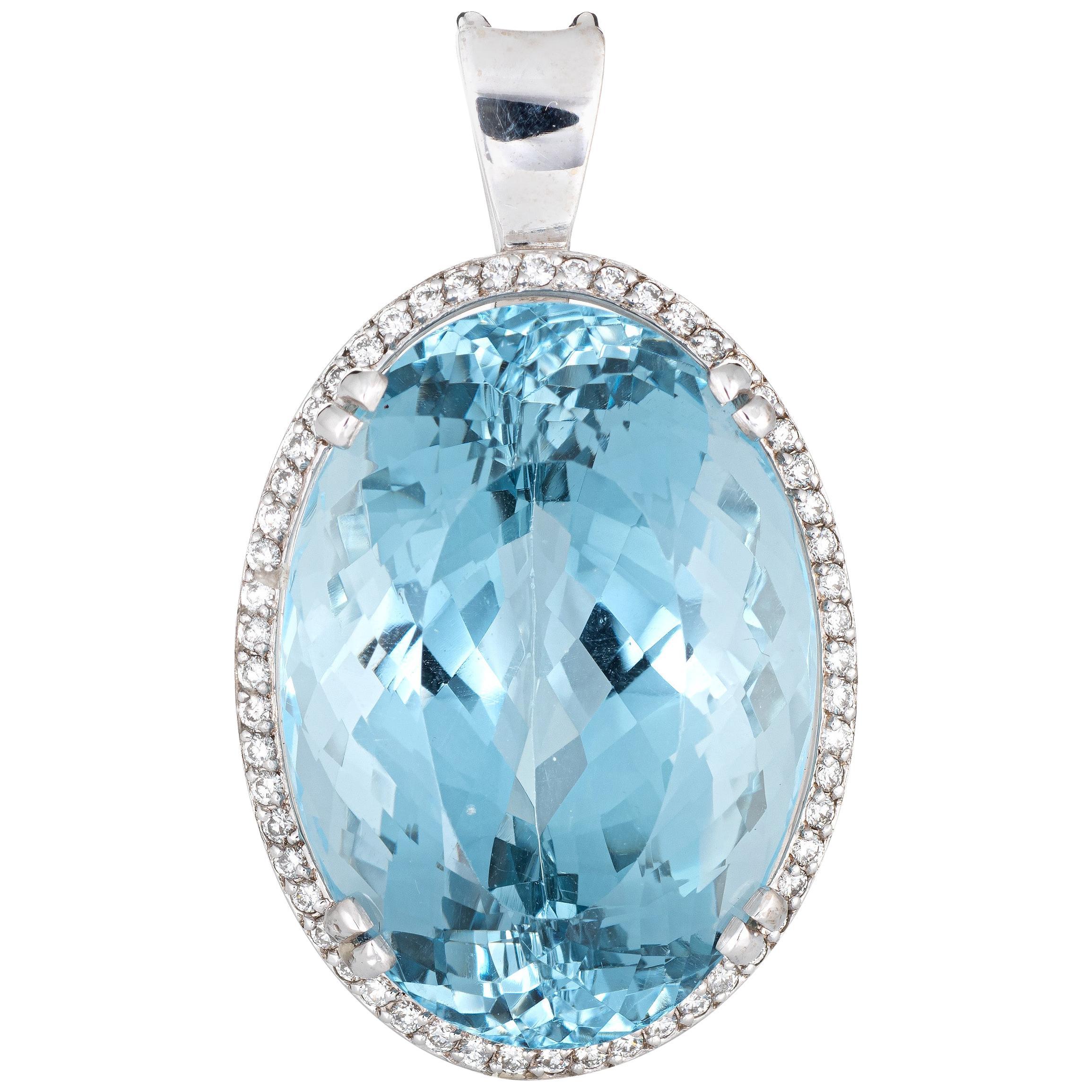 Huge 95 Carat Blue Topaz Diamond Pendant Estate 14k Gold Large Oval Enhancer