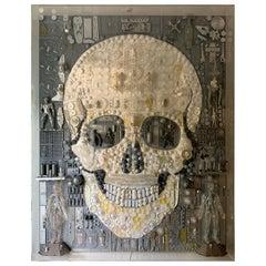 "Huge Acrylic Boxed Art by Rosello ""Skull"""