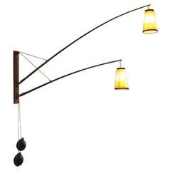 Huge Adjustable Teak Wall Light by Skrip Leuchten, circa 1950s
