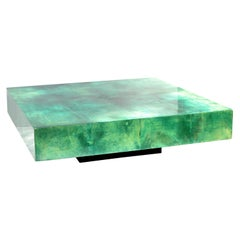 Huge Aldo Tura Coffee / Cocktail Table Emerald Green Lacquered Goatskin Top