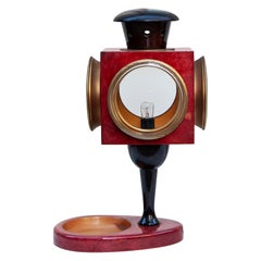 Huge Aldo Tura Red Goatskin Lantern Table Lamp