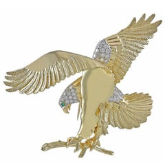 Huge American Eagle Gold and Platinum Brooch