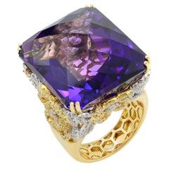 Huge Amethyst and Diamond Ring 18 Karat Gold