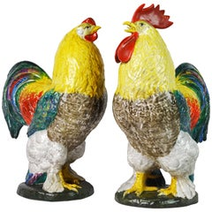 Huge and Colorful Italian Majolica Sculptures of a Rooster and Hen