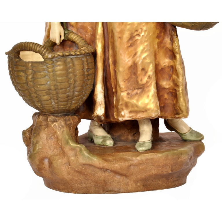 Huge Antique Austrian Imperial Amphora Pottery Figural Group Art Nouveau 1910 For Sale 5