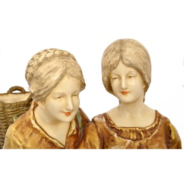 Huge Antique Austrian Imperial Amphora Pottery Figural Group Art Nouveau 1910 For Sale 6