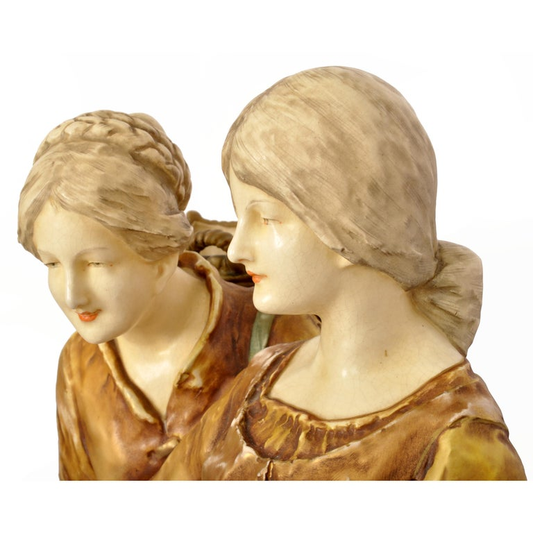 Huge Antique Austrian Imperial Amphora Pottery Figural Group Art Nouveau 1910 For Sale 7
