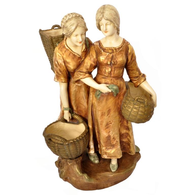 Huge Antique Austrian Imperial Amphora Pottery Figural Group Art Nouveau 1910 For Sale 8