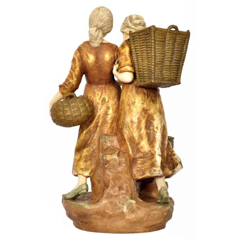 Early 20th Century Huge Antique Austrian Imperial Amphora Pottery Figural Group Art Nouveau 1910 For Sale