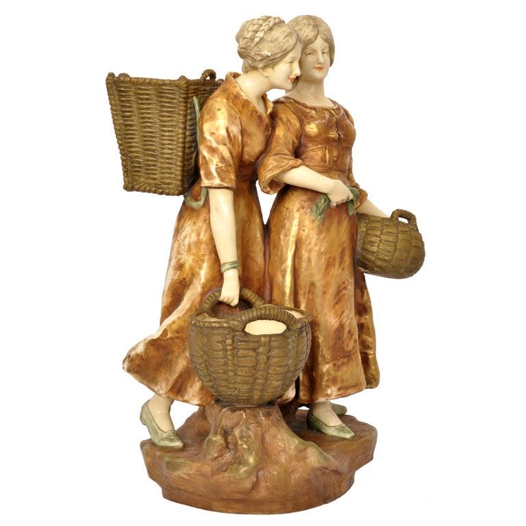 Huge Antique Austrian Imperial Amphora Pottery Figural Group Art Nouveau 1910 For Sale 2