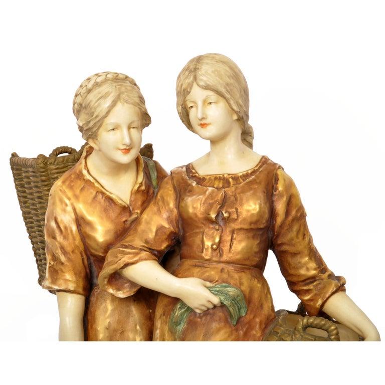 Huge Antique Austrian Imperial Amphora Pottery Figural Group Art Nouveau 1910 For Sale 3