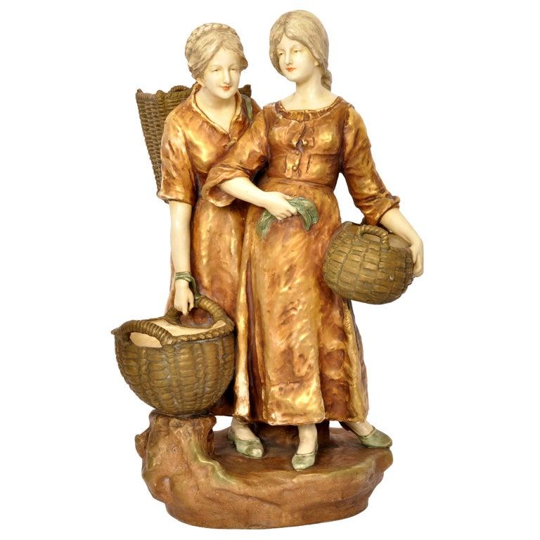 Huge Antique Austrian Imperial Amphora Pottery Figural Group Art Nouveau 1910 For Sale