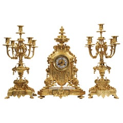 Huge Antique French Gilt Bronze Baroque Clock Set by Barrard and Vignon of Paris