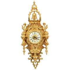 Huge Antique French Gilt Bronze Cartel Wall Clock with Dragons