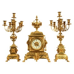 Huge Antique French Gilt Bronze Classical Clock Set