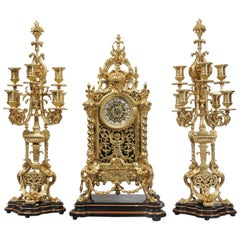 Huge Antique French Ormolu Bronze Baroque Clock Set