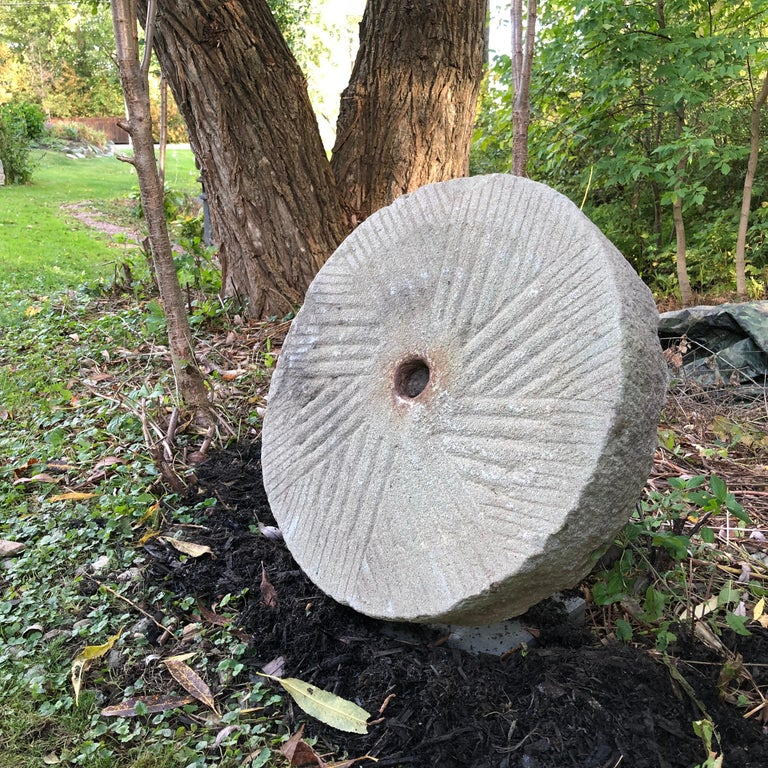 Big Antique Hand-Carved Thick Garden Mill Stone, 19th Century In Good Condition For Sale In Shelburne, VT
