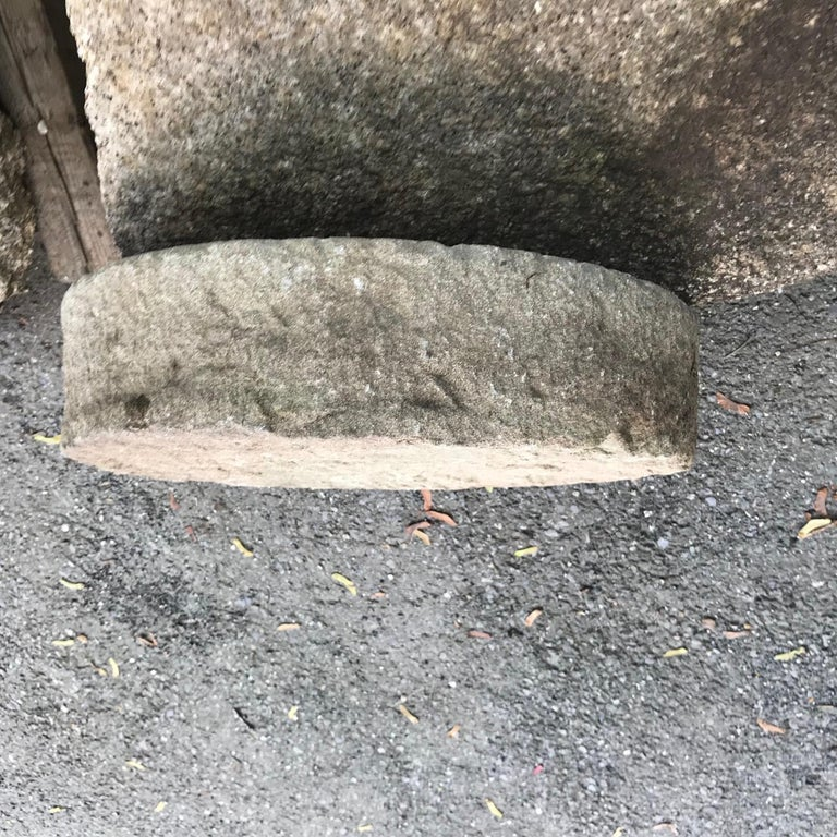 Big Antique Hand-Carved Thick Garden Mill Stone, 19th Century For Sale 3