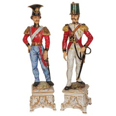 Huge Antique Pair of Italian Porcelain Soldiers