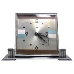 Huge Art Deco 1930s Chrome Mantle Clock by LIP