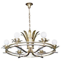 Huge Art Deco Flower Leaf Chandelier Silver Brass White Globe Glass France 1930s