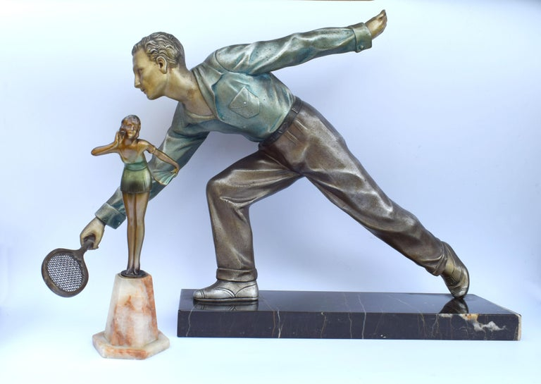 Huge Art Deco Male Figure Tennis Player, French, circa 1930 For Sale 5