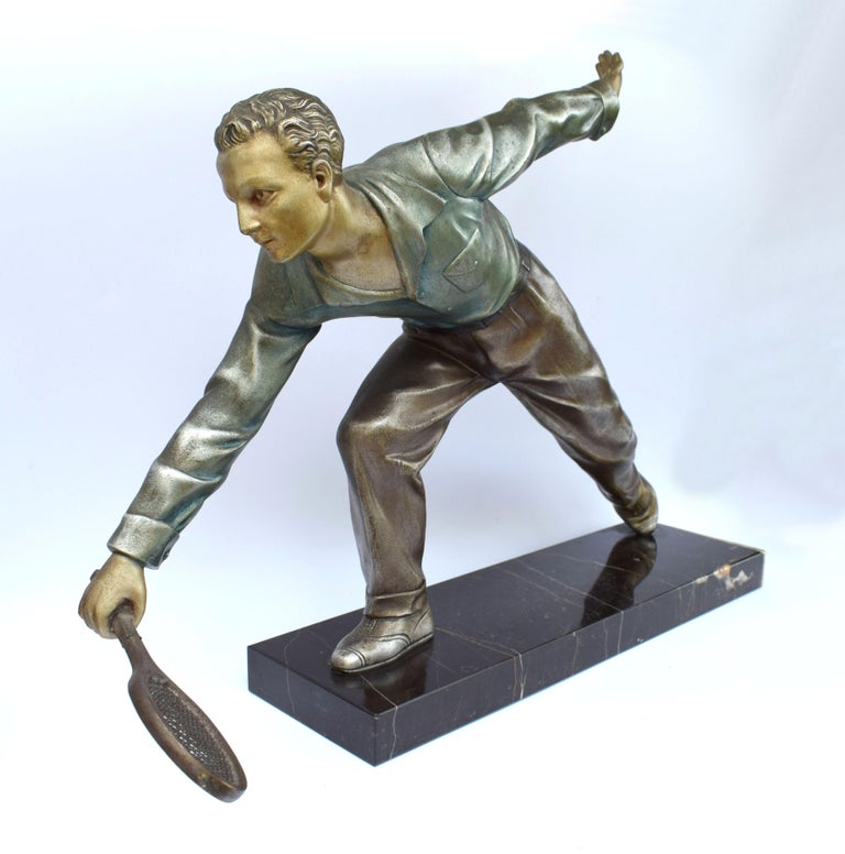 Huge Art Deco Male Figure Tennis Player, French, circa 1930 In Good Condition For Sale In Devon, England