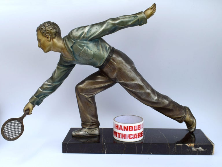 Spelter Huge Art Deco Male Figure Tennis Player, French, circa 1930 For Sale