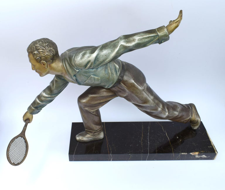 Huge Art Deco Male Figure Tennis Player, French, circa 1930 For Sale 1