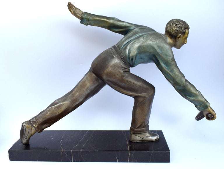 Huge Art Deco Male Figure Tennis Player, French, circa 1930 For Sale 2