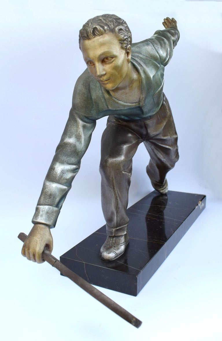 Huge Art Deco Male Figure Tennis Player, French, circa 1930 For Sale 3