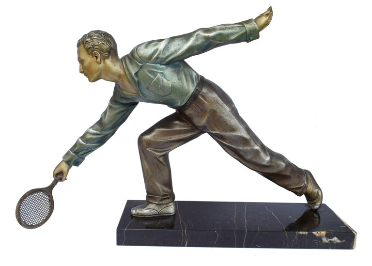 Huge Art Deco Male Figure Tennis Player, French, circa 1930 For Sale 4
