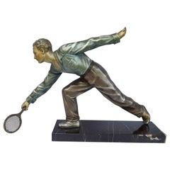 Huge Art Deco Male Figure Tennis Player, French, circa 1930